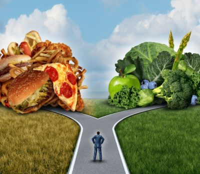 pathway to healthy nutritious food or junk food